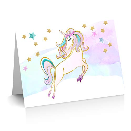TINSELBOX Unicorn Thank you Cards | Blank Inside | Watercolor with Digital Gold Foil | Birthday Thank Yous | Greeting Cards | Unicorn Gifts (12)