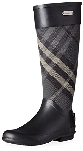 BURBERRY Women's Clemence Rain Boot, Charcoal, 37 M EU/7 M US