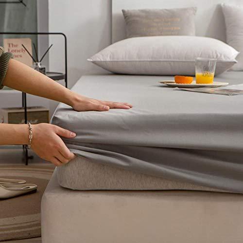 FJMLAY Sábanas ajustablesExtra Suave,Sábanas de algodón de Color Puro, Almohadillas de protección Antideslizantes para Apartamentos de Dormitorio-Gray_150cmx200cm