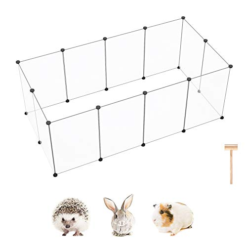 """C&AHOME Pet Playpen, Small Animals Playpens Cage Yard, Portable Large Plastic Crate Fence, Exercise Pen Indoor for Guinea Pigs, Rabbits, Ferrets, Hamsters, 12 Panels, 15.7"""" × 23.6"""" Transparent White"""
