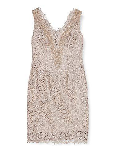 Gina Bacconi Damen Standard-Kleider Chiffon Scarf and Beaded Neck Lace Knielang, Beige (Taupe), Gr. 42 (Herstellergröße: 16)
