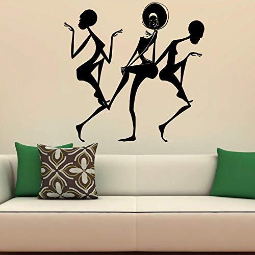 African Dancing Wandaufkleber Home Decoration African Lovely Girl Abnehmbare wasserdichte Vinyl Wandtattoos Kunst Wandbild 57Cm X 82Cm