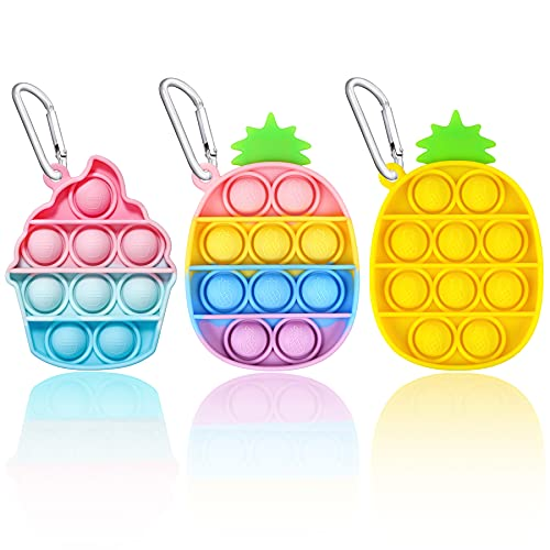 EVERMARKET Push Pop Bubbles Fidget Sensory Toy Keychains, 3 Pack Mini Ice Cream Pineapple Bubble Popper Stress Reliever Silicone Relax Toys Keychain, Rainbow Color Pop Bubble Fidget Block Toys