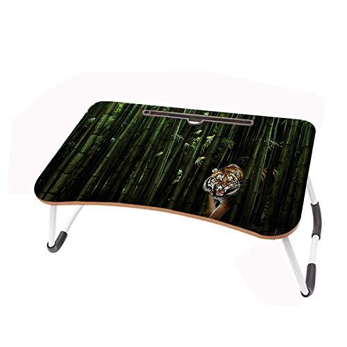 LYWUSUZE Escritorio Plegable para Computadora Portátil Tigre del Bosque De Bambú En La Mesa De Lectura del Sofá Cama (60 x 40 cm)