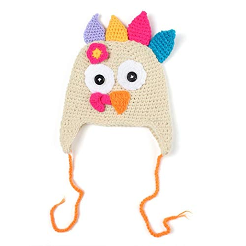 Thanksgiving Turkey Cap, Forthery Baby Knitted Crochet Beanie with Pigtail Braids (L / 42cm-45cm, Beige)