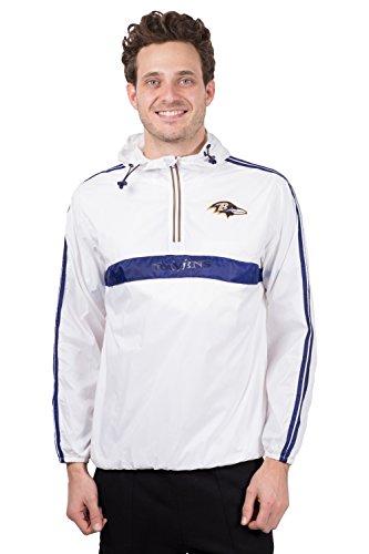 Ultra Game NFL Baltimore Ravens Mens Quarter Zip Pullover Hoodie Packable Windbreaker Jacket, White, Large