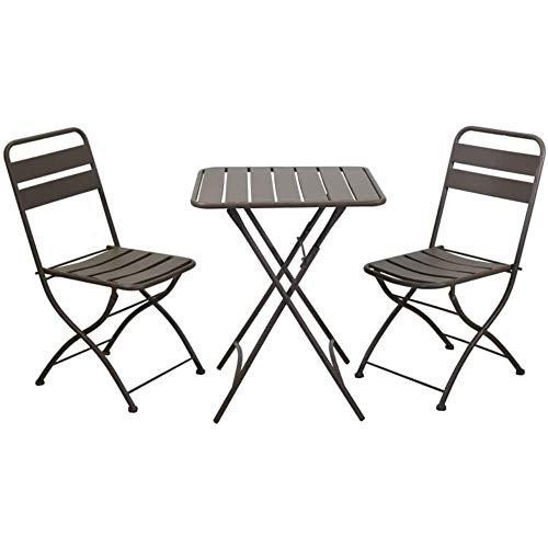 Luxurygarden - Juego de mesa y sillas de jardín, balcón exterior, plegable, de metal antioxidante, diseño moderno, 60 x 60 x 72 cm