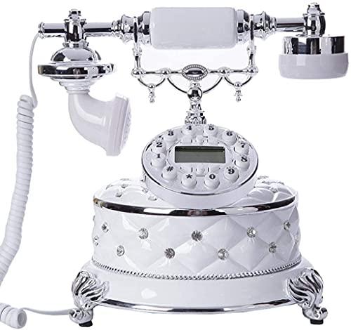 MUZIDP Teléfonos Decorativos Antiguos Teléfonos caseros Teléfono con Cable, Teléfono móvil Retro Europeo/Antiguo Teléfono Móvil Resina Decoración de Oficina Decoración Línea Línea - Blanco