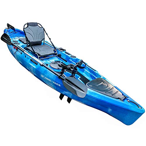 Fishing pedal kayak for anglers 11' | sit on top or stand | 500lbs capacity for adult youths kids| suitable for ocean lakes rivers | paddle or effortless foot drive motor| easy to carry | pesca canoas