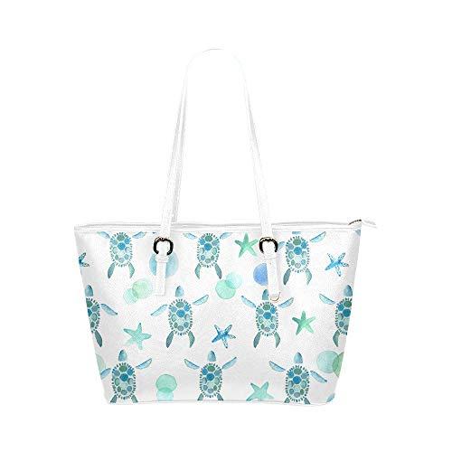 InterestPrint Sea Turtle Starfish Sea Life Leather Tote Shoulder Bags Handbags for Women