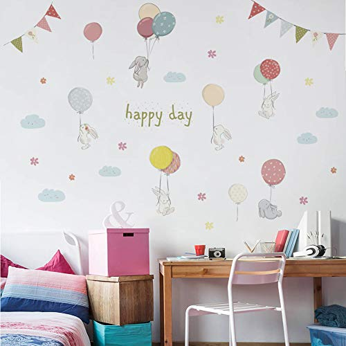 TAOZIAA Kaninchen Happy Day Wandaufkleber Für Kinderzimmer Aufkleber Kinderzimmer Kindergarten Dekoration Wandtattoo