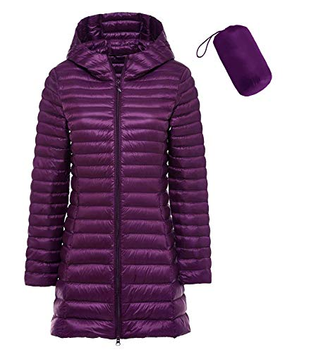 sunseen Women's Packable Down Coat Lightweight Plus Size Puffer Jacket Hooded Slim Warm Outdoor Sports Travel Parka Outerwear (M, Long-Purple)