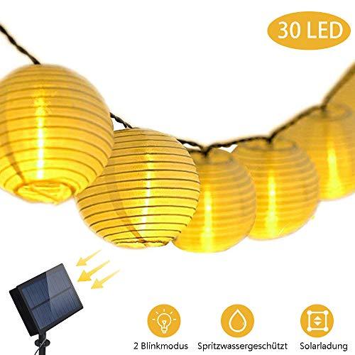 LED Solar Lichterkette Gartenbeleuchtung 6M 30 Lampions Warmweiß Wasserdicht Garten, Party, Terrasse, Hof, Feiern, Fest Deko, Usw