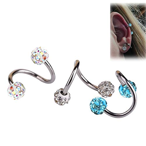 SMXGF 2 stuks Volledige Crystal S Labret Ring Titanium geanodiseerd Bar Spiral Twister Tragus Ear Piercing Helix ring Body Jewelry (Color : 1.2x8mm Bar, Size : White)
