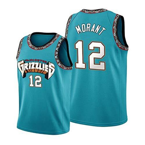 BDBY Jersey de Baloncesto, Oso Grizzly 12# Morant Fashion Bordery versión de la Camiseta, Chaleco Deportivo sin Mangas para niños, fanáticos Uniformes del Equipo Blue-M