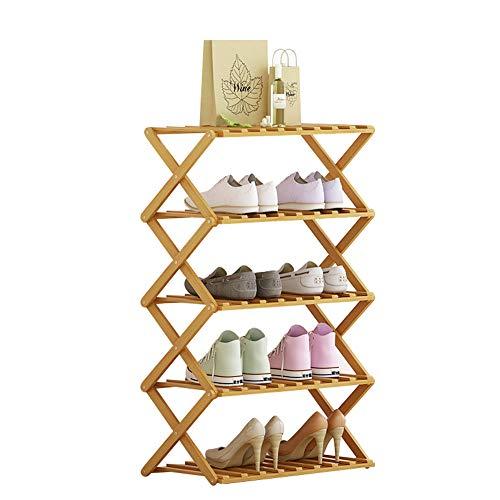 Zapatero portátil con 5 niveles plegables de bambú resistente sin instalación, estante de almacenamiento, zapatillas para la entrada, pasillo, salón o dormitorio