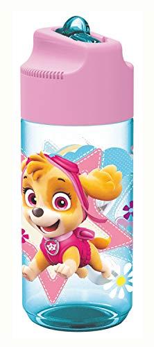 POS 29232088 - Trinkflasche mit Paw Patrol Motiv, transparent mit Strohhalm zum hochklappen, BPA-frei, Fassungsvermögen ca. 450 ml, ideal für Schule, Sport und Freizeit, farbig sortiert