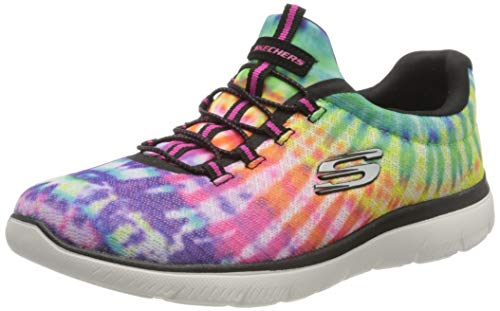 Skechers Women's Summits-Looking Groovy Sneaker, Black/Multi, 7.5 M US