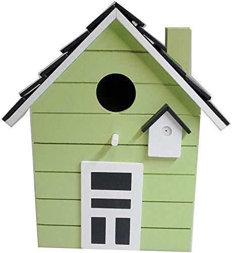Casita de madera para aves, para balcón y jardín, verde lima.