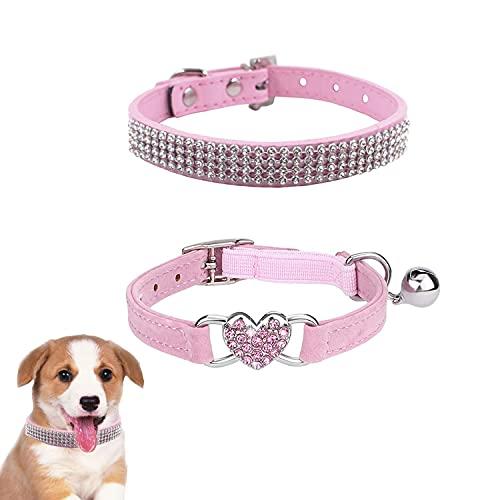 2 Stuck Strass Hundehalsband, Bling Glitzernd Leder Katzenhalsband und Verstellbarer Kragen aus Weichem Samt mit Strasssteinen Diamant Halsband Haustier für Kleine Hunde Katzen Hundedekor (Pink)