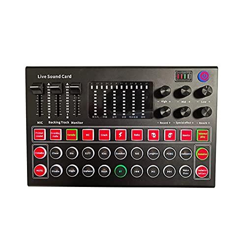 POHOVE Tarjeta de sonido en vivo Mini tablero mezclador de sonido portátil cambiador de voz tarjeta de sonido con múltiples efectos de sonido Mini Audio DJ Mixer Board para transmisión en vivo Canto
