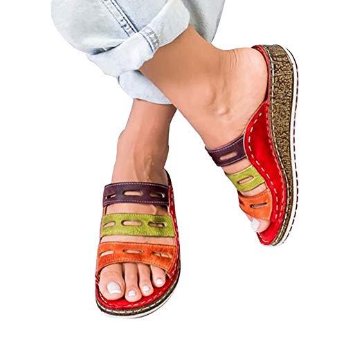 LWWOZL Hausschuhe Damen Sommer Leder Keilabsatz Sandalen Offener Zeh Flach Strand Zehentrenner Mode Strand rutschfest SchuhRed-39 WOERD
