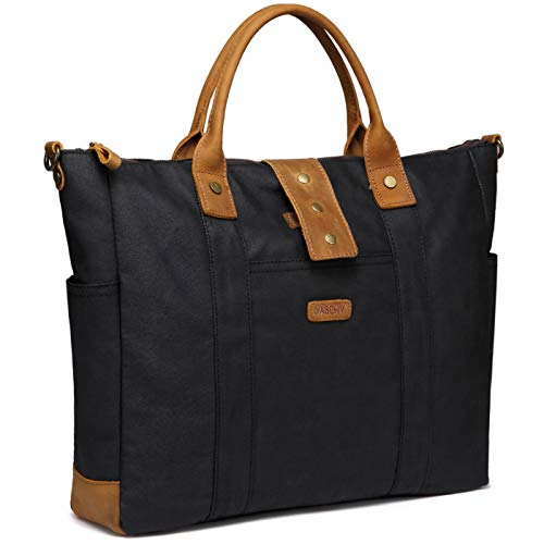 Laptop Bag for Women, VASCHY Water Resistant Vintage Leather Waxed Canvas Tote Bag Work Bag for Women Fits 15.6 inch Laptop, Black, L
