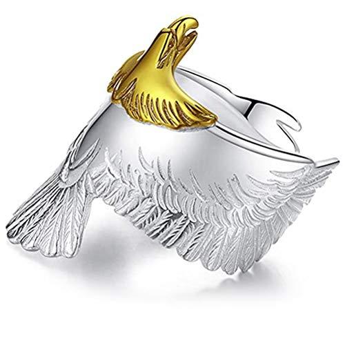 OUTEYE S925 Silver Eagle Ring Anillo de Dedo de Apertura Ajustable Retro Punk Eagle Ring Gift
