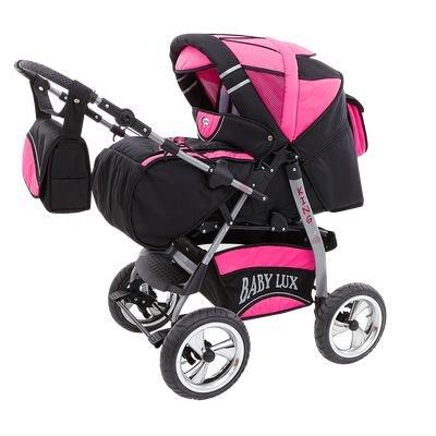 Lux4Kids Kinderwagen Set Babywanne Sportsitz Babyschale Wickeltasche Matratze Buggy optionales Zubehör Megaset über 400 Auswahlmöglichkeiten 3in1 oder 2in1 Set Made in EU iCaddy Cosmic Black & Pink
