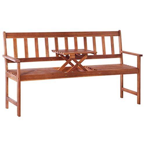 ghuanton Gartenbank mit Klapptisch 158 cm Massivholz Akazie Braun Möbel Gartenmöbel Gartensitzmöbel Gartenbänke