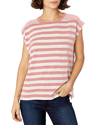 Chaps Women's Petite Short Sleeve Striped Knit Top, Mineral Pink/Pearl, PXS