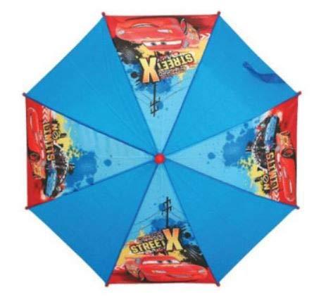 Disney Cars Lightning McQueen Regenschirm, 54 cm lang mit Klettverschluss zu Schließen