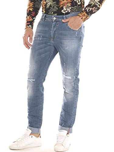 X-Cape Jeans a Sigaretta Uomo in Denim Cotone Stretch con Rotture