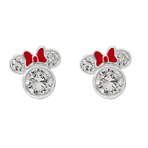 Disney Minnie Mouse - Orecchini a perno da donna, in argento Sterling con zirconia cubica e smalto rosso e Argento, colore: bianco, cod. E902851RZWL