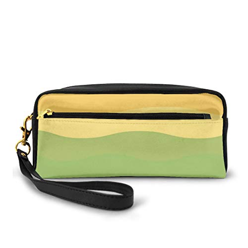 Pencil Case Pen Bag Pouch Stationary,Green and Yellow Colored Wavy Lines Curves Earth Inspired,Small Makeup Bag Coin Purse