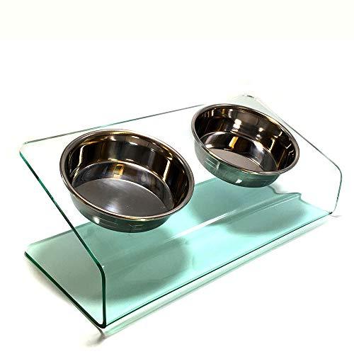 【猫 食器台 ステンレスボウル2個】食べやすい 傾斜 洗いやすい アクリル素材 ガラス色