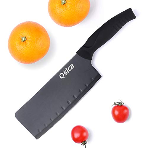 Q'sica Premium High-Carbon Stainless Steel Non-Stick Meat Cleaver/Butcher Knife, Black