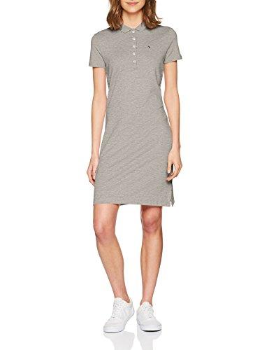 Tommy Hilfiger Damen Chiara STR PQ Polo Dress SS Poloshirt, Grau (Light Grey Htr 039), 42 (Herstellergröße: XL)