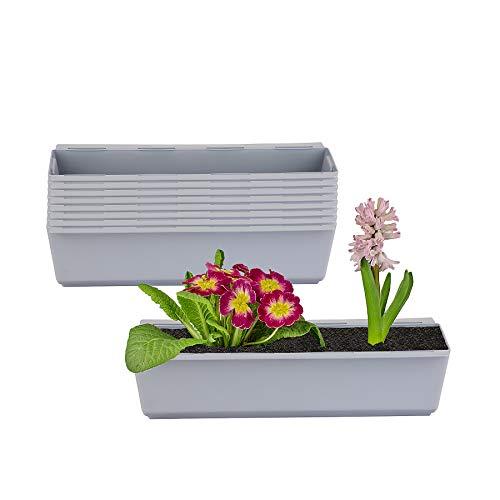 BigDean 8er Set Pflanzkasten inkl. Aufhänger für Europalette - Blumenkübel in Grau - LxBxH ca. 37 x 13,5 x 9,5 cm - Ideal zum Hängen & Stellen - Robust & wetterfest -