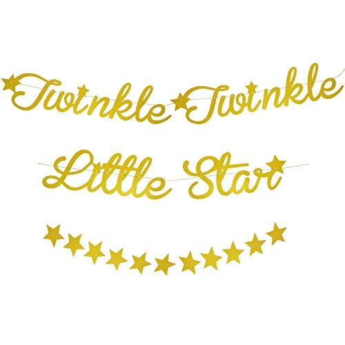 """Blue Panda, goldfarbene Girlande mit Buchstaben: """"Twinkle Twinkle Little Star"""" und funkelnden Sternen, für Babyparty / Kindergeburtstag / Party, 3 Meter, 2 Stück"""