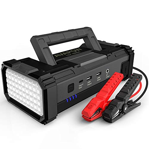 AVAPOW 6000A Peak 32000mAh Car Battery Jump Starter Powerful Battery Booster Pack with USB Quick Charge(for All Gas or up tp 12L Diesel),12V Portable Car Power Pack with Built-in LED Light