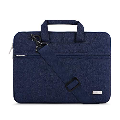 MOSISO Laptop Shoulder Bag Compatible with MacBook Pro 16 inch A2141, Compatible with MacBook Pro Retina, 15-15.6 inch Notebook, Polyester Briefcase Sleeve with Back Belt for Trolly Case, Navy Blue