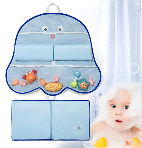 COOLBEBE Bath Kneeler and Elbow Rest Set with Octopus Pattern – Extra Thick Baby Bath Kneeling Pad Mat with Arm Support and Pockets Organizer