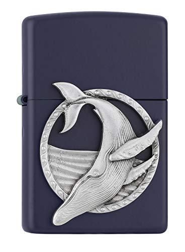Zippo – Blauwal Emblem, Navy Blue Matte – Benzin Sturm-Feuerzeug, nachfüllbar, in hochwertiger Geschenkbox, normal, 2007128