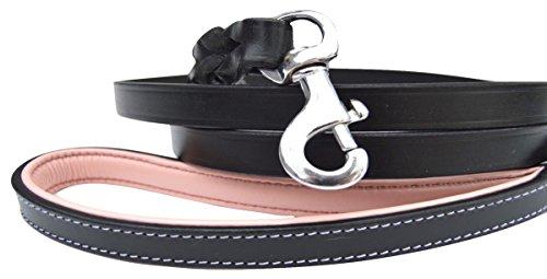 Soft Touch Halsbänder–Luxus Handgefertigt geflochtenen Leder Hund Leine, die Capri Kollektion -, 4 Feet x 1/2 inch, Black/Light Pink Handle