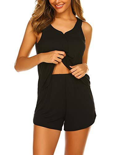 Ekouaer Women's Short Pj Set Cute Tank Pajama Sexy Nightwear Shorts Black X-Large
