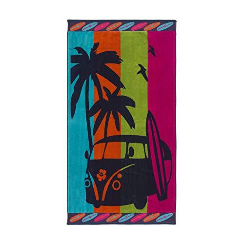 Montse Interiors, S.L. Telo Mare Ampio per Spiaggia e Piscina - 100% Cotone Egiziano - Motivo con Bus Campeggio e Palme - Design Hawai - 90 x 170 cm