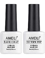 AIMEILI UV LED Gel-lack Nagellack, Base Coat och No Wipe Top Coat, Topp och Bas Underlack & överlack set Gel 2 × 8ml