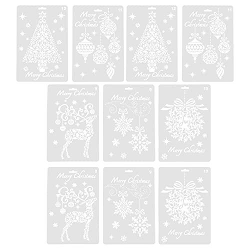 EXCEART 10 Unidades de Plantillas Navideñas con Espray de Nieve Copo de Nieve de Manualidades para Dibujar Pintura Ventana Puerta de Cristal Carrocería Suministros de