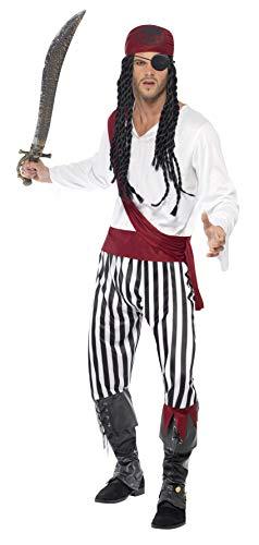 Smiffy'S 25783L Disfraz De Hombre Pirata Con Camisa, Pantalones, Banda Para El Pelo Y Cinturón, Negro / Blanco, L - Tamaño 42